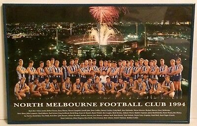 North Melbourne Football Club 1994 Glass Framed Team Poster Size 62cm x 41cm
