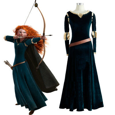 Merida Adult Dress Brave Princess Curly Wig Costume Green Medieval Long Skirt