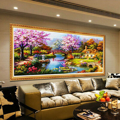 BU_ 5D Diamond Painting Scenic Plant Flower House Landscape DIY Wall Decor Craft
