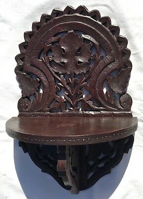Carved Vintage Wall Hanging Clock Display Wall Hanging Shelf Bracket Fruit Wood