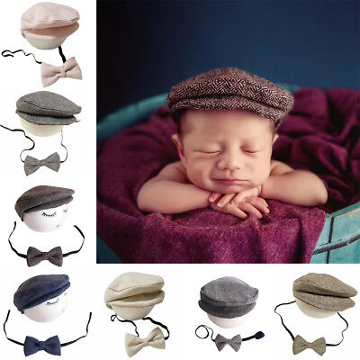 BU_ Newborn Baby Infant Beanie Cap Hat Bow Tie Photography Props Outfit Set Sanw