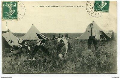 CPA -Carte postale- France-Le Camp de Cercottes-La Toilette en Plein Air-1901