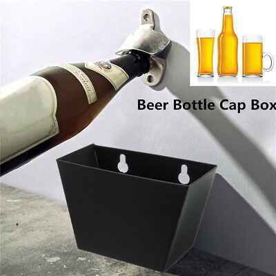 Wall Mount Beer Bottle Opener Cap Catcher Stainless Steel Storage Box Screws