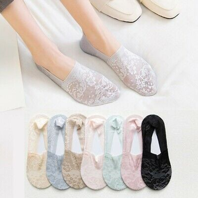 Women Lace Socks Boat Invisible Anti-Skid Low Cut No-show Non-Slip Liner Slipper