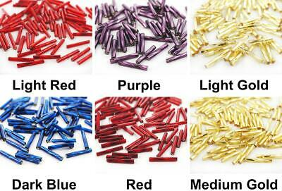 100pcs x 15mm Extra Long Silver Lined Twisted Round Czech Glass Bugle Beads P...