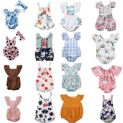 New Toddler Baby Girls Floral Romper Bodysuit Playsuit Jumpsuit Clothes Outfits