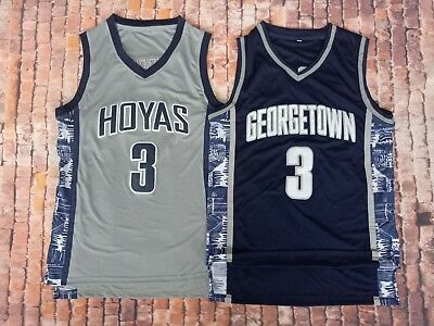54a63441674 Allen Iverson #3 Georgetown Hoyas Throwback College Jersey Gray/blue suture