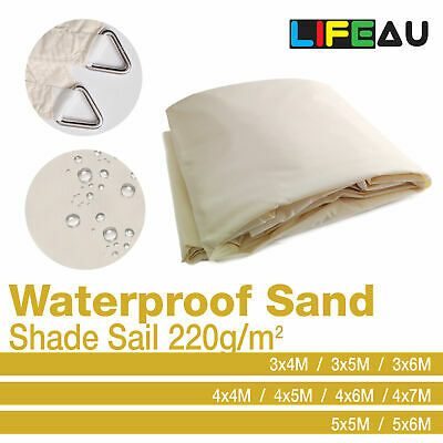 Waterproof Extra Heavy Duty SAND Shade Sail 220gsm Rectangle Square