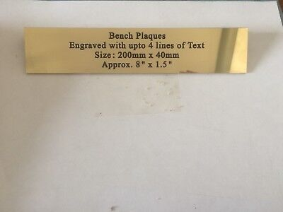 SOLID BRASS PLAQUE 200mm x 40mm x 1.5mm ENGRAVED INCLUDING BRASS SCREWS