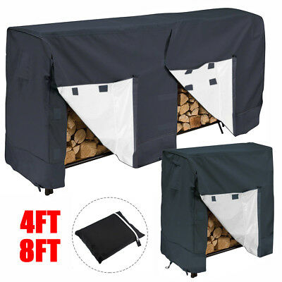 4ft 8ft Log Rack Cover Waterproof Firewood Wood Heavy Duty Storage Holder Cover