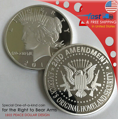 2nd Amendment SILVER Liberty round Special coin1922 PEACE DOLLAR DESIGN 38mmX2mm