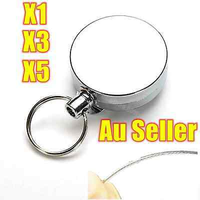 1X 3X 5X Silver Metal Retractable Pull Key Ring Chain Belt Clip Steel Card Hold