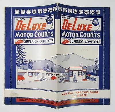 Vtg Route 66 Road Map Highway 99 DeLuxe Motor Courts CA AZ TX Motel Photos 1941