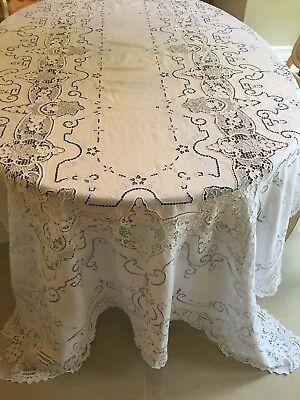"""VTG. LARGE Handmade Needle Lace and Embroidered Tablecloth 120""""X70""""w/12 Napkins"""