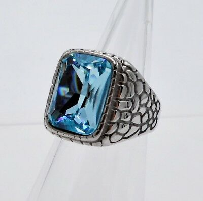 Ring Men Blue Topaz Stainless Steel Silver Solitaire Dragon Square Celts  # 8.75