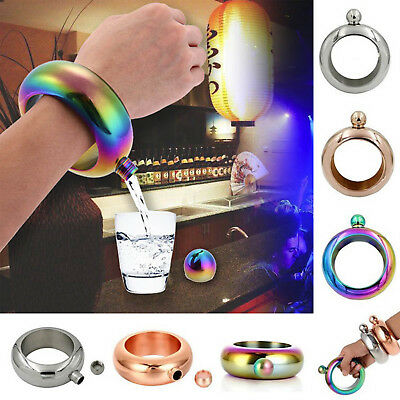 Stainless Steel Bracelet Bangle Shaped Flagon Wine Pot Hip Flask 3.5 oz 100mL