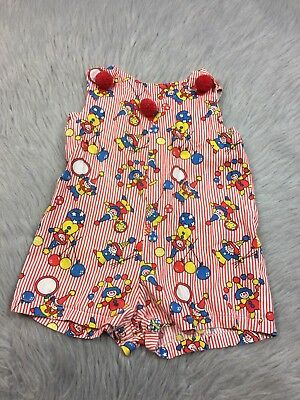Vtg 1960s Handmade Red Stripe Clown Circus Toddler Romper