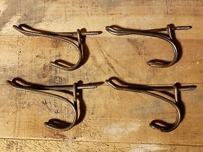Antique Lot Of 4 Twisted Wire Hangers Hooks Coat Rack Schoolhouse Vintage C