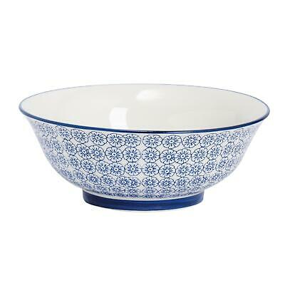 Porcelain Salad Bowl China Fruit Food Serving - Blue Flower - 203mm