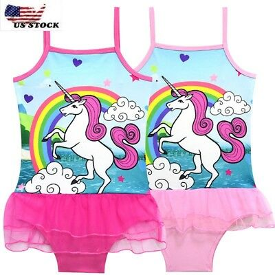 Children's Girls Unicorn Rainbow Swimsuit Swimwear Bathing swimming Bikini #b13