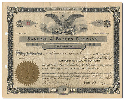Sanford & Brooks Company Stock Certificate (Baltimore, Maryland Dredger)
