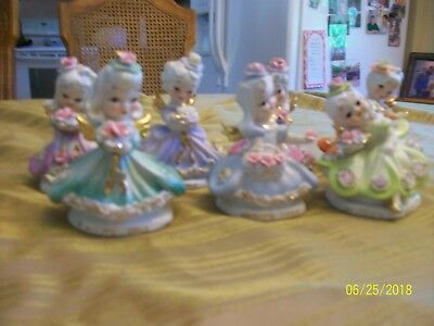 """Vintage Lefton China """"Days of the Week"""" Series COMPLETE 7 Figures"""