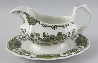 Ridgway WINDSOR - MULTICOLOR Gravy Boat w/ Attached Under Plate EX