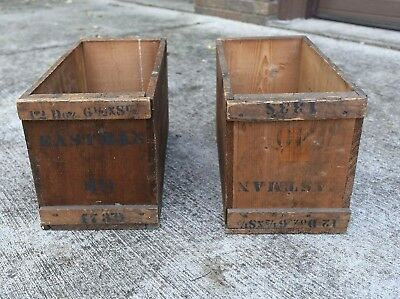 Pair Kodak Eastman Glass Negative Crates
