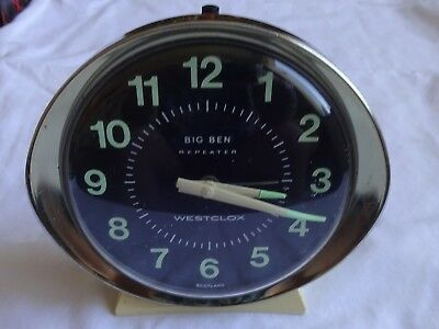 Vintage Westclox Big Ben Repeater Alarm Clock Luminous Black Dial & Hands