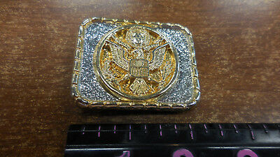 Vintage Chrome & Gold Tint Presidential Seal Belt Buckle States Of America