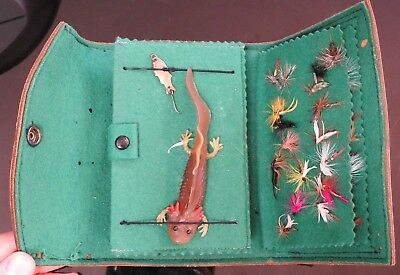 Vintage Leather Fly Fishing Wallet, Antique Lures, Hand Tied Flies, Felt Lining