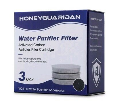 HoneyGuaridan W25/W18 Pet Water Fountain Replacement Carbon Filters (3 Pack)