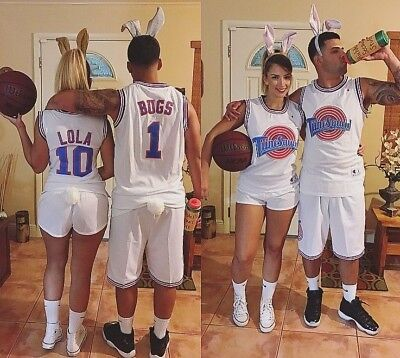 Bugs #1 Lola #10 Bunny Space Jam Tune Squad Halloween Costume Basketball Jerseys