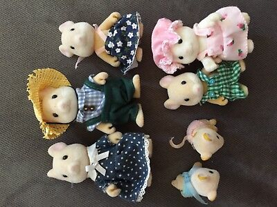 Calico Critters Sylvanian Maces (?) Mouse Family & Babies Twins 1985 Lot of 7