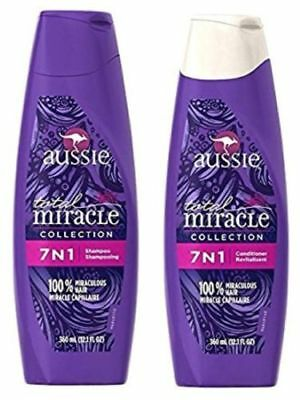 Aussie Total Miracle Collection 7n1 Shampoo and Conditioner Set, 12.1 FL OZ