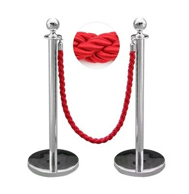 2pc Polished Steel Queue Rope Barrier Red Twisted  Rope Stanchion Posts Stands