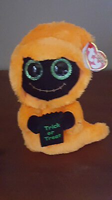 ty BEANIE BABY BOO SEEKER ORANGE REAPER GHOST HALLOWEEN MWMT 2017 SPARKLE EYES