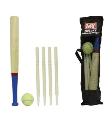 Deluxe 6 Piece Wooden Rounders Set With Carry Bag Kids Gift Summer Game Outdoor