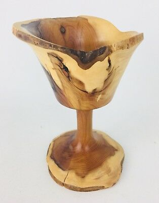 Irish Wooden Turned Chalice Wood Goblet Unique One Piece Cup Natural Handmade