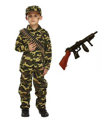 Child Boys Kids Army Soldier Fancy Dress Costume Party Uniform Military Outfit