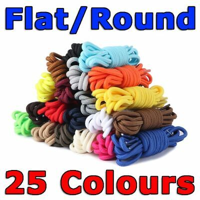 Colorful Shoe Laces Bootlace Shoelaces Sneakers Runners Coloured Flat & Round