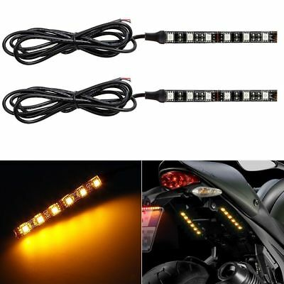 Pair 6 LED Motorcycle Turn Signals Flexible Strip Blinkers Slim Flush Tail Light