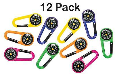 Compass Belt Clips 2.5 Inches Assorted Colors - Party Favor Camping Pack Of 12