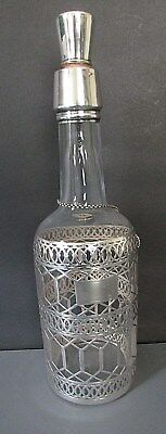 Antique Silver Overlayed Black Starr & Frost, Whiskey Decanter & Tag