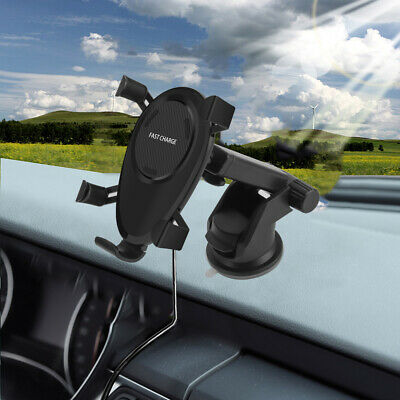 USA Qi Wireless Charger Car Stand Mount Holder Bracket For iPhone XS XR XS Max