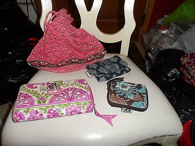 Vera Bradley lot of 4 crafter, use, repurpose - ditty bag, 3 wallets