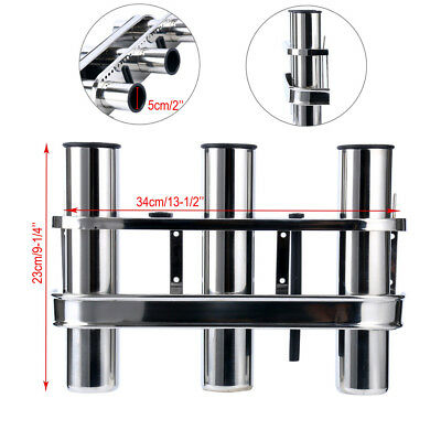 3 TUBE Stainless Fishing Rod Storage Holder Rack Boat Organiser 3 Rod RACK AU