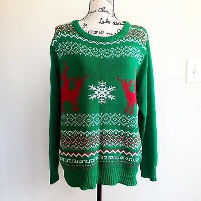 Spencers Ugly Christmas Sweaters.Spencers Naughty Reindeer Ugly Christmas Party Green Sweater