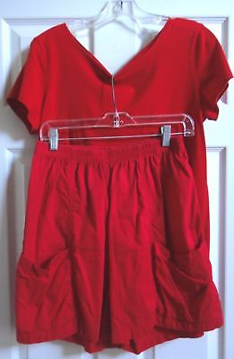 2-PC CASUAL RED SHORTS & T-SHIRT TEE Size approx M Medium Womens