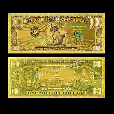 24K USA Gold Foil Dollars $1000000 Home Living Arts Gifts One Million Banknotes